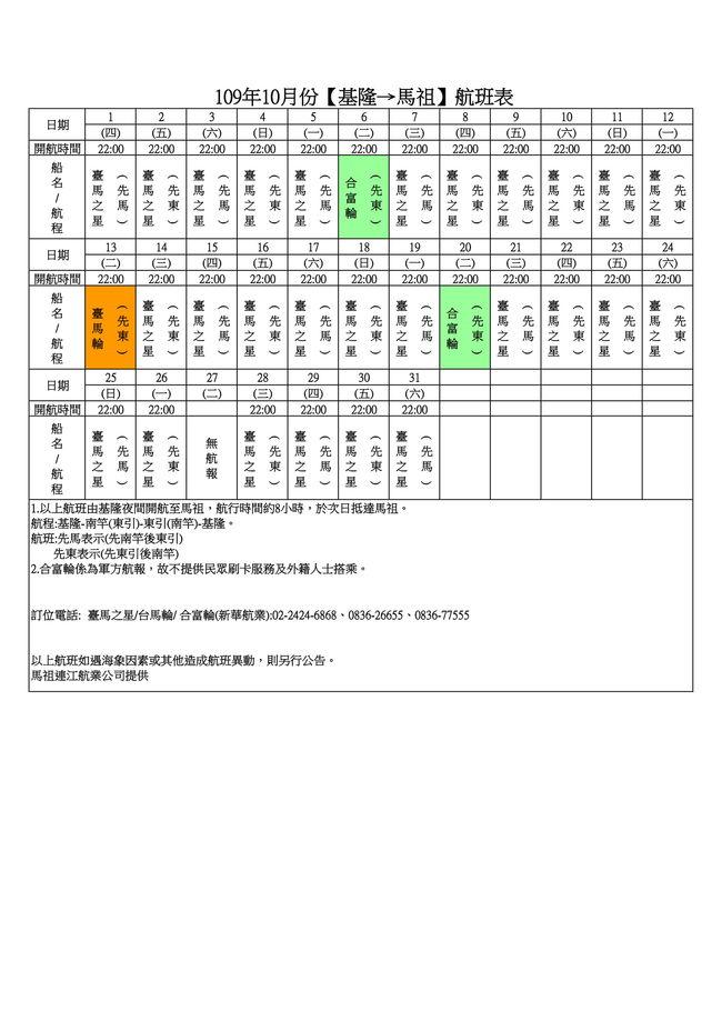 109年10月臺馬及島際間航班表  照片